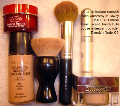 Revlon Colorstay Tawny  - Diorskin Nude - MAC 180 Brush