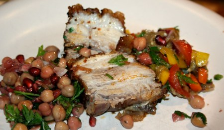 roast pork belly with salads