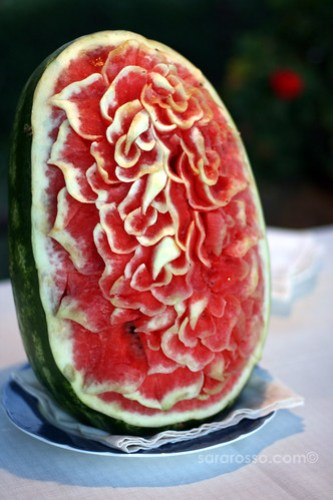 More Carved Watermelon Art at a Wedding in Sicily, Italy