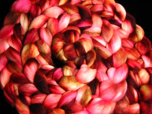 Autumn Rose Superwash Merino Top Roving