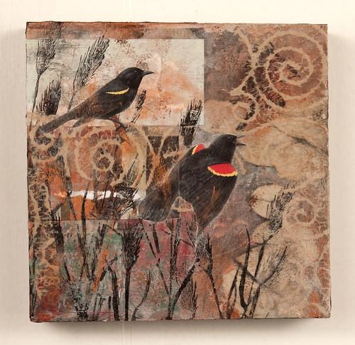 Mixed Media collage - Black Birds