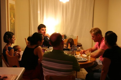 Crowded dinner table