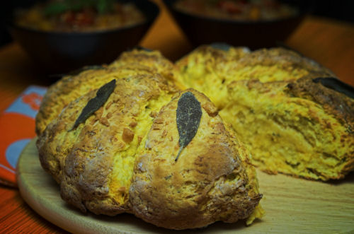 Pumpkin damper with parmesan and sage