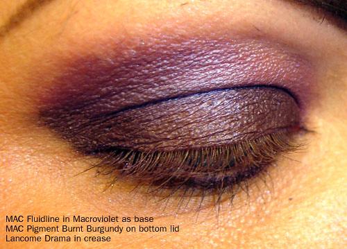 MAC Fluidline Macroviolet - MAC Pigment Burnt Burgundy - Lancome eyeshadow