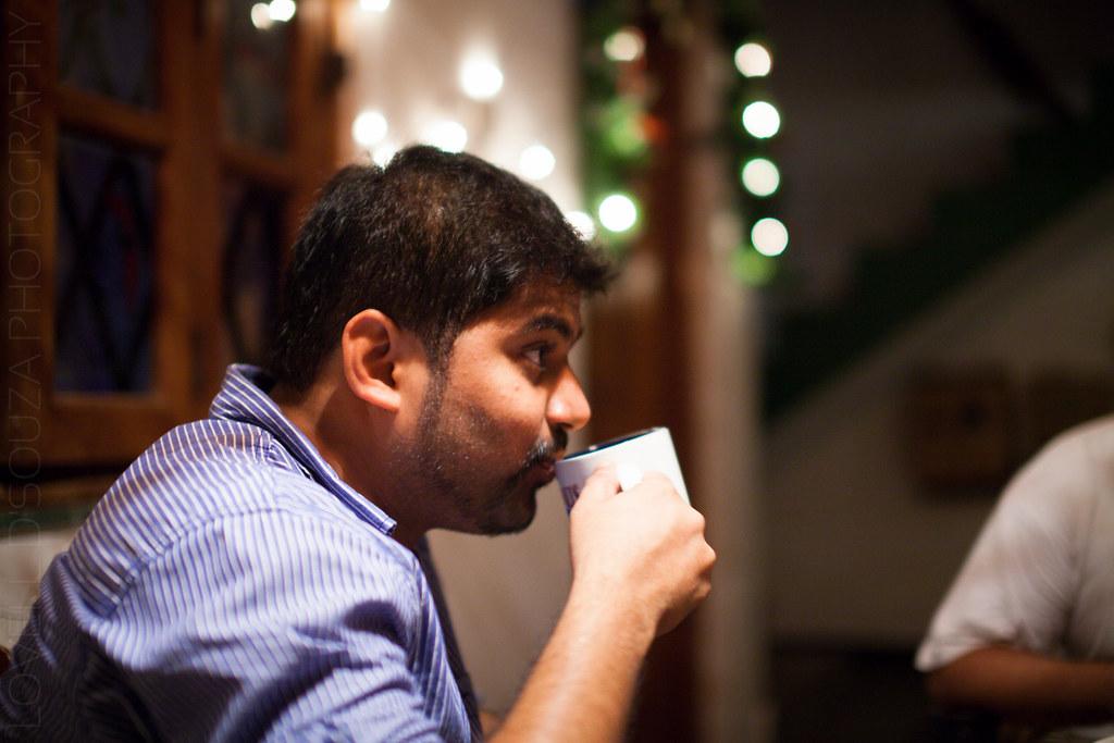 Nashvin sips on coffee