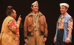 South(L to R) Armelia McQueen (Bloody Mary), Eric Kunze (Lt. Joseph Cable) and Jeff Skowron (Luther Billis) in South Pacific, produced by Music Circus at the Wells Fargo Pavilion July 22-27, 2014. Photos by Charr Crail.Pacific13