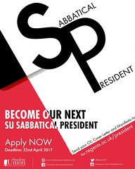 Become our next Sabbatical President ‼️‼️ Being a Sabbatical President of the SU means you'll take a year off your studies to focus on your job and you'll get paid for it! It's an amazing opportunity! Do not hesitate and apply here: http:/