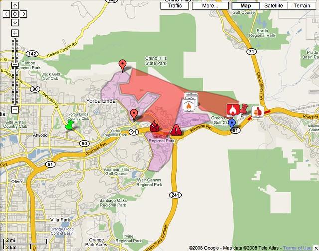 map yorba linda fire