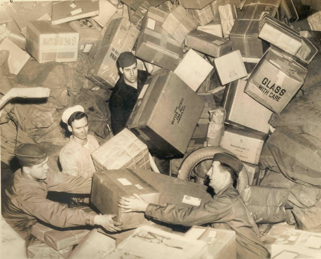 U.S. Troops Surrounded by Holiday Mail During WWII