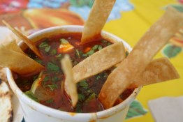 Dark, intensely flavoured tortilla soup at Tacofino (food truck in Tofino)
