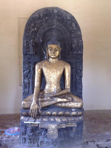 Blue Stone Lord Buddha statue Bhumi Sparsh Mudra