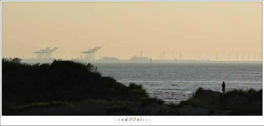 De haven van Zeebrugge lijkt dichtbij door de compressie van een tele objectief. Toch staan de kranen op de horizon ruim 10 km verwijderd van de persoon op het duin.