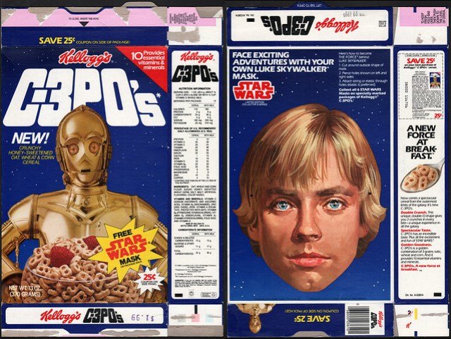 Kelloggs C-3PO's cereal box - Free Star Wars Mask - Luke Skywalker - 1984