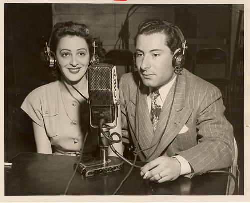 Jean Weil in ABC studio making international phone call