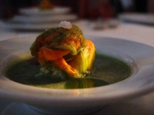 Chilled Amaranth Soup with squash blossom stuffed with goat ricotta and oregano