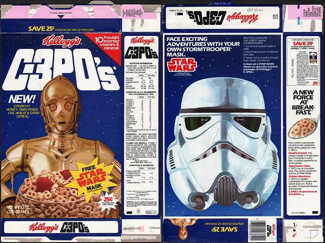 Kelloggs C-3PO's cereal box - Free Star Wars Mask - Stormtrooper - 1984
