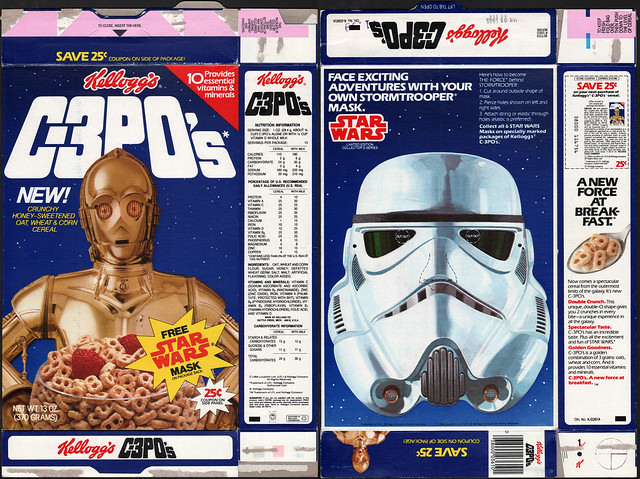 Kelloggs C-3PO's cereal box - Free Star Wars Mask - Stormtrooper - 1984