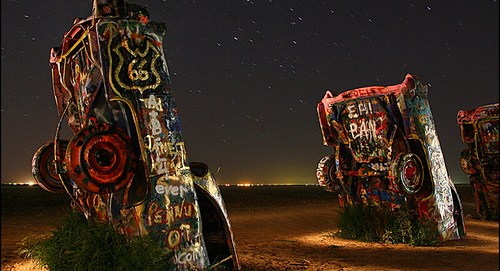 Light painting the Cadillac Ranch