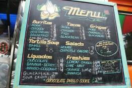 The menu at Tacofino