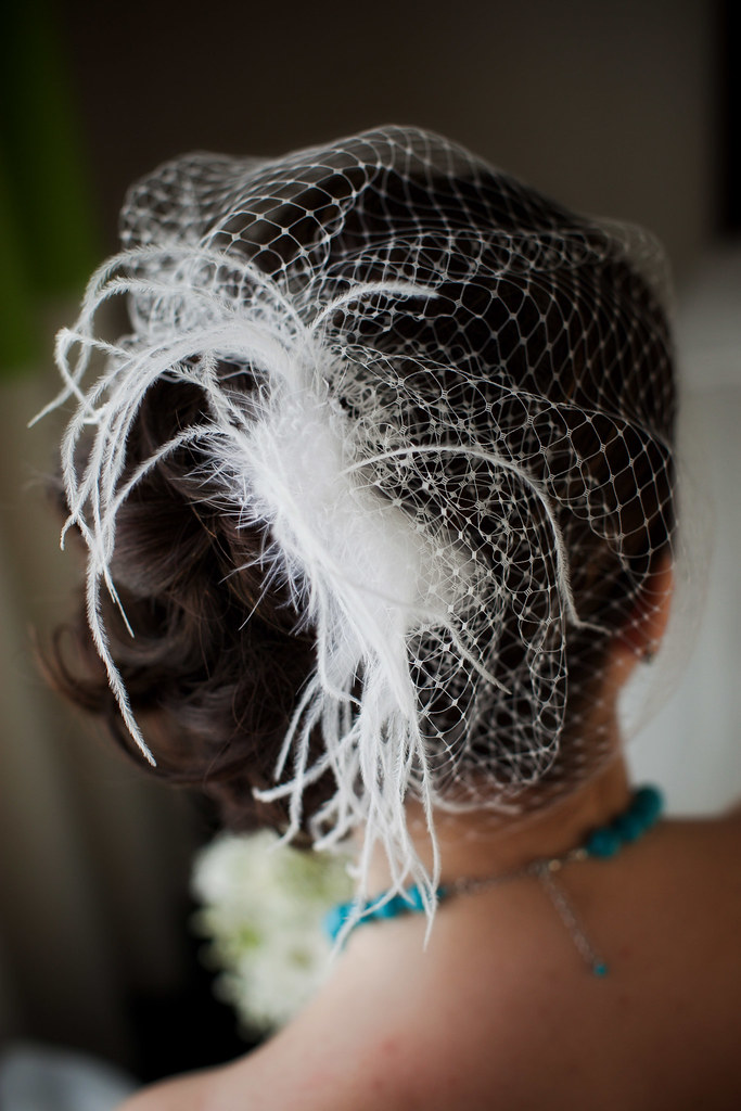 Birdcage veil and feather fascinator