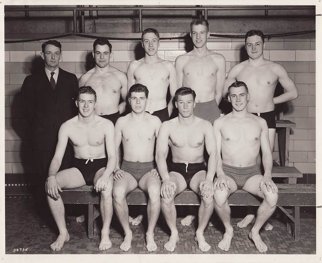 vintage men group nudity
