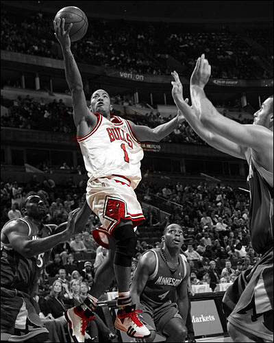 Derrick Rose Colored Jersey And Black and White Background
