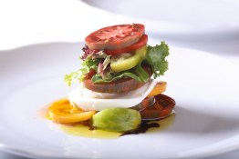buffalo mozzarella with heirloom tomatoes and organic olive oil
