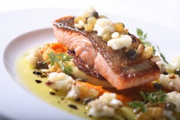 seared sockeye salmon, with cauliflower, sultanas, polenta and carrot purée