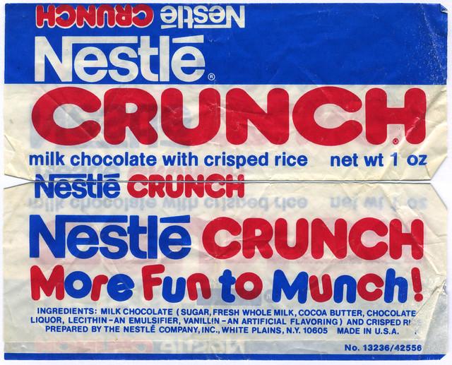 Nestle Crunch bar wrapper - More Fun to Munch - 1970's