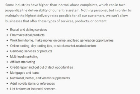 MailChimp terms of use