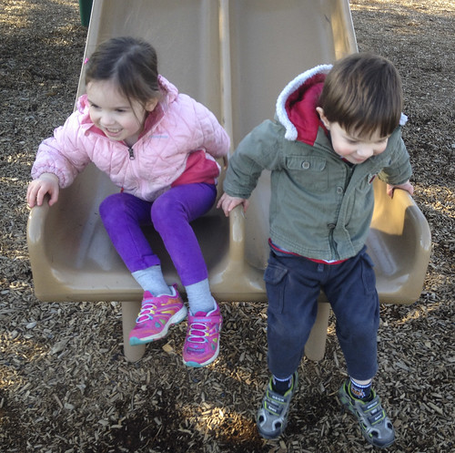 siblings on the slide