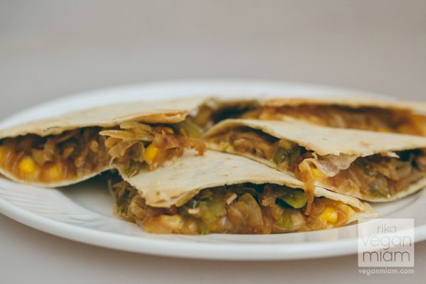Cheesy Quesadilla with Onions & Bell Peppers