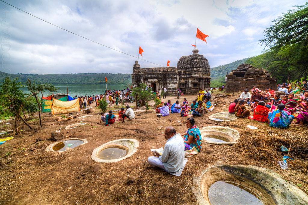 Devotees resting the Kamalja Devi Temple, at the Lonar lake