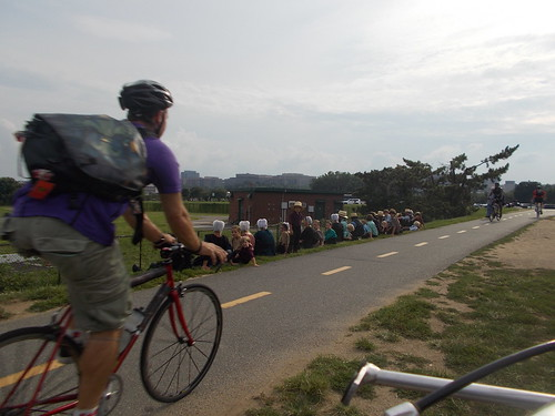 Bike Commuter Passing Line of Mennonites