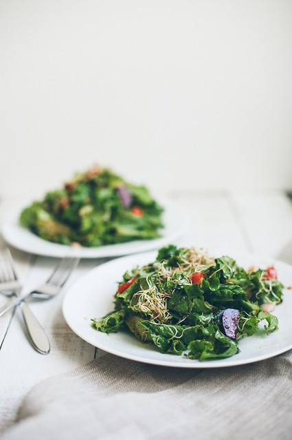 Leafy Sprouts Salad with Sorghum Chili Vinaigrette