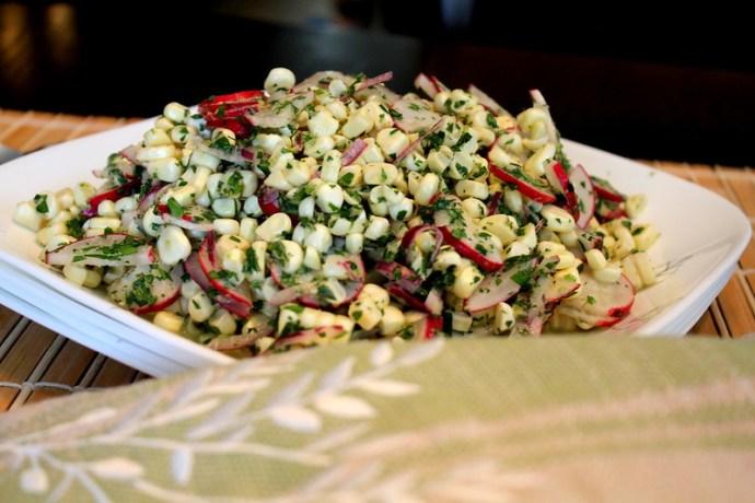 corn radish lime salad