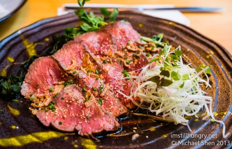 Kuki tanuki Wagyu roast beef tataki - thinly sliced wagyu strips w/ponzu dressing