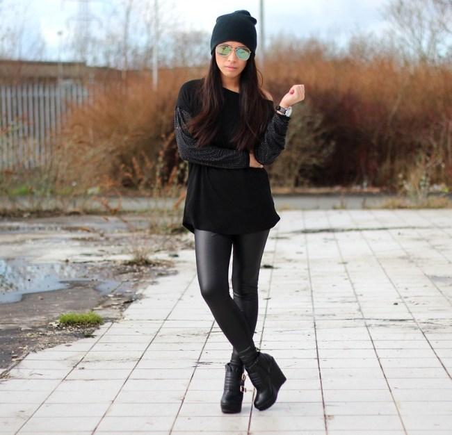 Article 21 UK Fashion & Style Blog, Warehouse studded sleeved jumper, embellished sleeves, warehouse embellished top, black warehouse jumper, studded sleeves, blue aviators, wet look leggings, h&m wet look leggings, uk fashion blogger, top uk blogs, best uk fashion blogs, british fashion blogs, uk chinese blogger, manchester fashion blogger