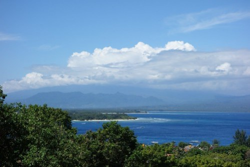From the hill-top: Gili Meno, Air, and Lombok in the distance