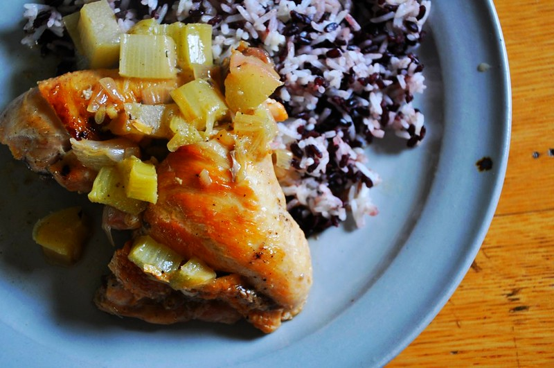 Braised Rhubarb Chicken Recipe   ¡HOLA! JALAPEÑO