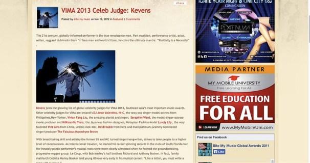 VIMA 2013 Celeb Judge_ Kevens | Bite My Music