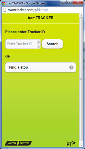 Tram stop selection page of TramTracker