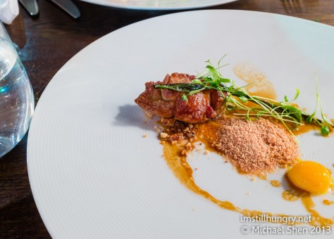Roast veal sweetbread w/poached quail yolk, grilled mango & crumbled foie gras Tomislav