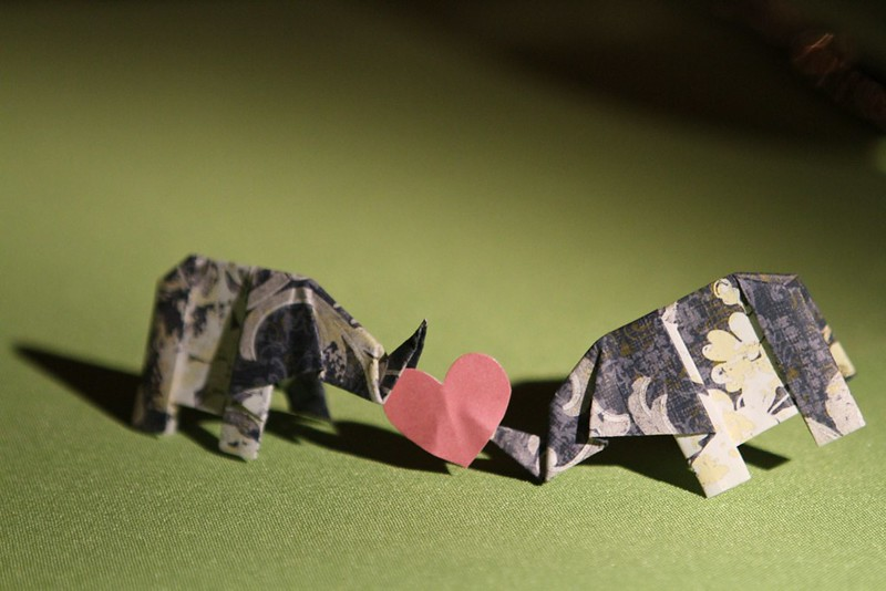 Origami Kissing Elephants