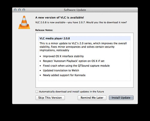 VLC Media Player 2.0.8 へのアップデート