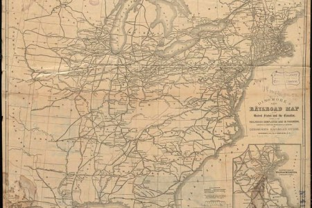 dinsmore's new railroad map of the united states and the