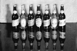 Sample bottles of Vancouver Breweries Limited products, including a cream stout, ~1932 - See more at- http-__www.vancouverarchives.ca_2012_05_beer-in-vancouver_#sthash.JpmX43qP.dpuf