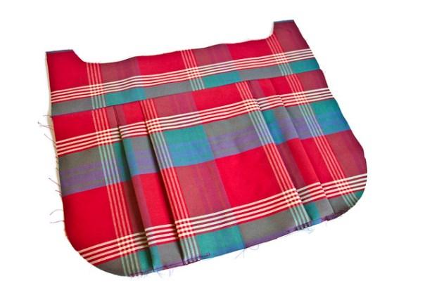 pleats in tartan fabric