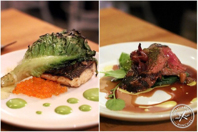 From left: Grilled Mullet with Grilled Cos Lettuce and Salmon Roe, Kangaroo Loin with Native Australian Plums and Jus