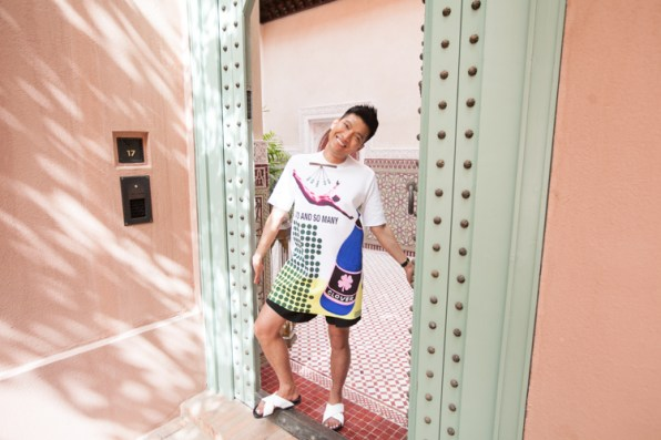 Bryanboy opening the door to his private road in Royal Mansour Marrakech